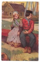 Romantic Dutch Couple Boy Girl Folk Costume Vintage Postcard 1907 - $4.99