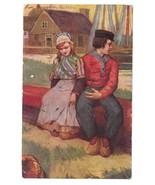 Romantic Dutch Couple Boy Girl Folk Costume Vintage Postcard 1907 - $4.99