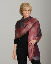 "Smithsonian Reversible Jacquard Tapestry Wrap Shawl Silk/Rayon 72"" Long - $59.99"