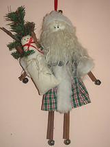 CHRISTMAS PIECE WITH CINNAMON STICKS BELLS GREENRY SANTA FATHER CHRISTMA... - $12.86