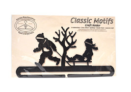 Classic Motifs Boy & Sled  12 Inch Charcoal Split Bottom Craft Holder - $23.25