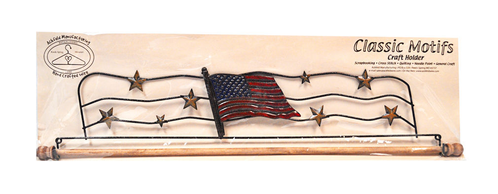 Classic Motifs American Flag 22 Inch Fabric Holder With Dowel