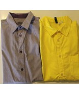 Lot Of 2 H&M Dividend Yellow Violet Stripe Men Short Sleeve Shirt Polo M... - $13.19