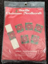New Vintage Bucilla Christmas Jeweled Holiday Napkin Rings Felt Kit Poinsettia - $9.90
