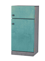 Kitchen Refrigerator ~ Turquoise & Gray Amish Handmade Wood Toy Furniture Usa - $346.47