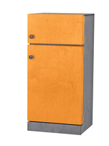 Kitchen Refrigerator ~ Orange & Gray Amish Handmade Wood Play Toy Furniture Usa - $346.47