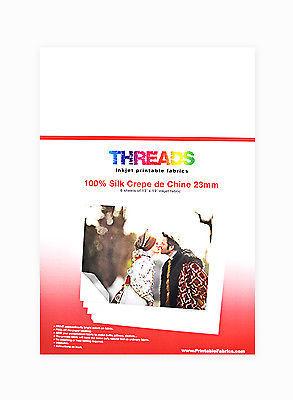 Threads Inkjet Printable Fabrics 23mm  Silk Crepe de Chine 13in x 19in