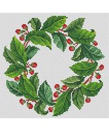 Counted Cross Stitch Pattern PDF Vintage Green Leaves and Berries Wreath  - $6.00