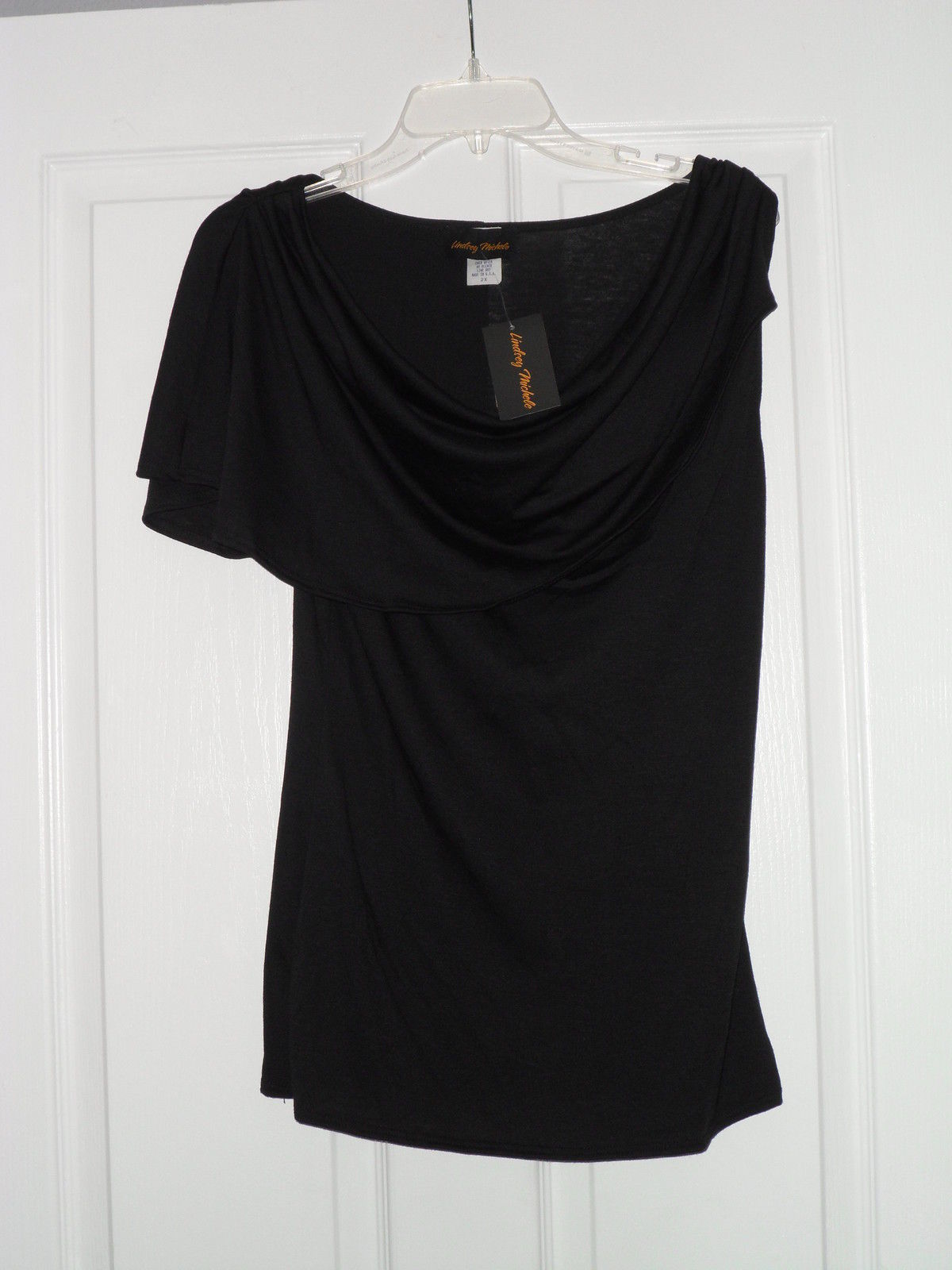 LINDSEY MICHELE BLOUSE STRETCH TOP SIZE L BLACK MADE IN U.S.A. NWT - $14.99
