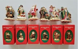 SET 1991 vintage 6pc HAND PAINTED PORCELAIN SANTAS england germany mexic... - $42.50