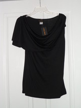 Lindsey Michele Blouse Stretch Top Size M Black Made In U.S.A. Nwt - $14.99