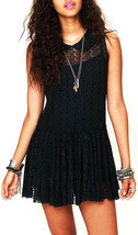Free People FP One Lace Sheer Mini Dress S Black - $50.00