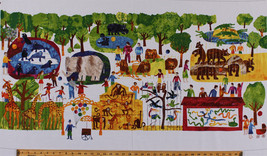 """24"""" X 44"""" Panel Eric Carle 1,2,3 To The Zoo Animals Cotton Fabric Panel ... - ₨630.74 INR"""