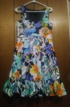 Spense Dress Sleeveless pleated with ruffle hem  A-line Floral Multicolo... - $19.99