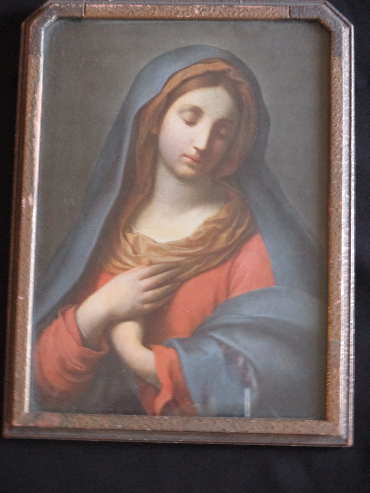 Vtg (1920's) Virgin Mary Litho in Original Frame