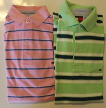 Lot Of 2 Tommy Hilfiger Small Pink Green Striped Short Sleeve 100% Cotton Blue - $14.68