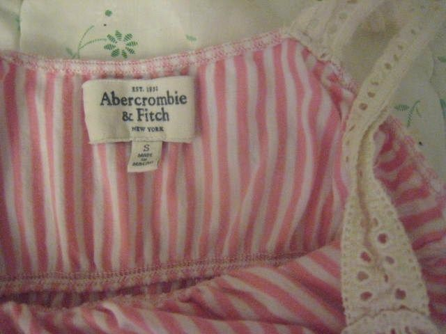 Abercrombie & Fitch A&F girly pink stripe eyelet crochet tank SMALL S