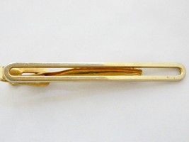 Vintage 60s Tie Bar Clip Clasp Open Gold Tone Stamped Men's Gift Tie Acc... - $9.49