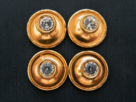 2 Sets Vintage Rhinestone Cufflinks Gold Tone Men's Gift Formal Wear Acc... - $12.19