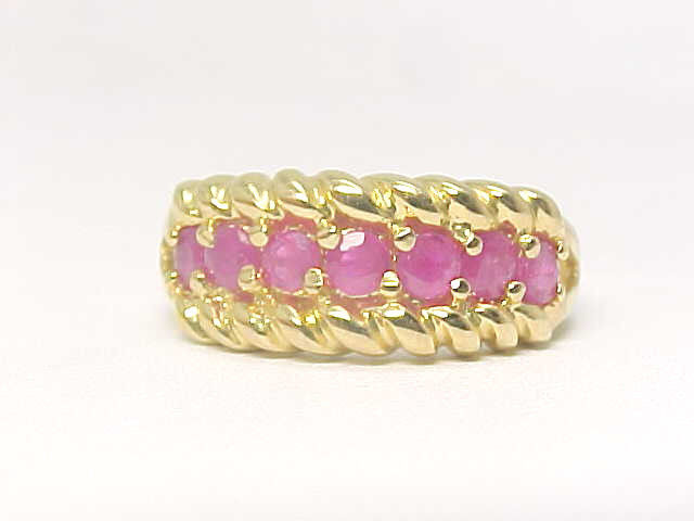 7 RUBY Gemstones Vintage RING in 14K Yellow Gold Vermeil - Size 7 -FREE SHIPPING