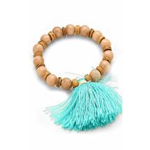 Natural Jasper Gemstone & Wood Beaded Stretch Bracelet with Turquoise Ta... - ₨1,335.55 INR