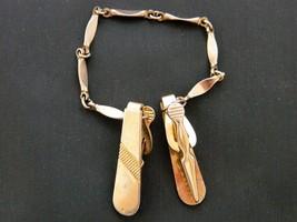 Vintage 60s Tie Clip Clasp Chain Gold Tone Men's Mid Century Tie Accesso... - $12.19