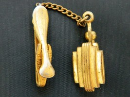 """Vintage Art Deco Style Hickock USA Tie Clip Clasp Gold Tone Signed 3.5"""" - $12.19"""