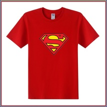 Super Hero's Supermen's Red Cotton Short Sleeve O Neck Unisex Basic Tee Shirt