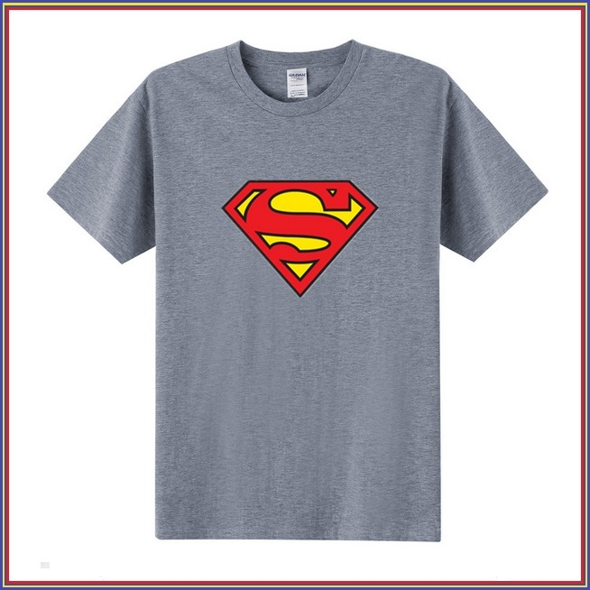Super Hero's Supermen's Gray Cotton Short Sleeve O Neck Unisex Basic Tee Shirt