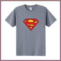 Super Hero's Supermen's Gray Cotton Short Sleeve O Neck Unisex Basic Tee Shirt image 1