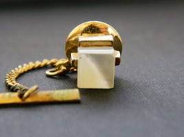 Vintage 60s Square Tie Tack Pin Mother of Pearl Mid Century Mens Tie Acc... - $12.19