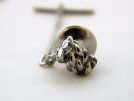 Vintage 60s Rope Knot Tie Tack Pin Silver Tone Mid Century Men's Tie Acc... - $9.49