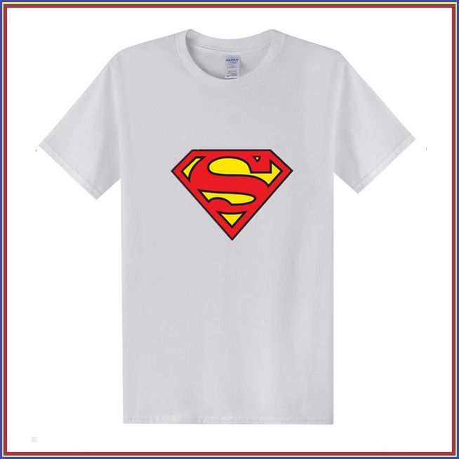 Super Hero's Supermen's White Cotton Short Sleeve O Neck Unisex Basic Tee Shirt