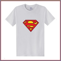 Super Hero's Supermen's White Cotton Short Sleeve O Neck Unisex Basic Tee Shirt image 1