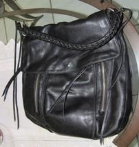 Christopher Kon Black Leather Large Hobo Handbag