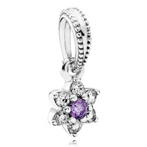 925 Sterling Silver Forget Me Not Flower Dangle Charm Bead QJCB847 - €15,81 EUR