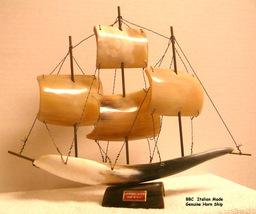 Italian 1960s Genuine Horn Sailing Ship Model - $49.95