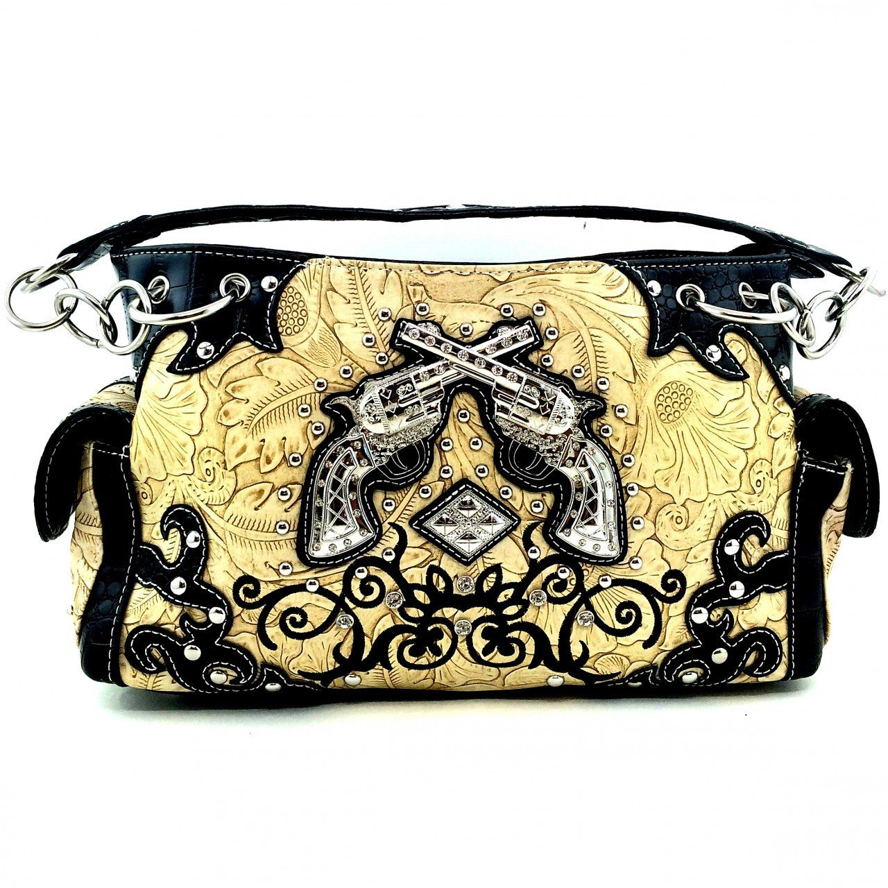 Embossed Western Rhinestone Pistols Purse w/ Concealed Weapon Gun Pocket (Black)