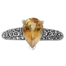 Aura 925 Sterling Silver Marcasite Ring with Citrine Gemstone (MR00065CIT) - £29.54 GBP