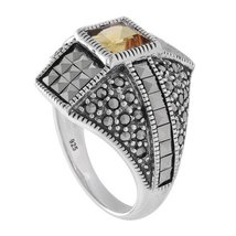 Aura 925 Sterling Silver Marcasite Ring with Citrine Gemstone (MR00481CIT) - £34.84 GBP