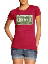 CHRONIC COLORADO LICENSE PLATE WOMENS S Red Girly Tee - $20.79
