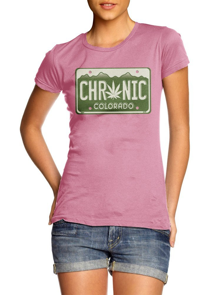 CHRONIC COLORADO LICENSE PLATE WOMENS XL Pink Girly Tee