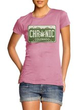 CHRONIC COLORADO LICENSE PLATE WOMENS XL Pink Girly Tee - $20.79