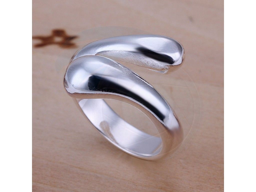 Size7 Brass Silver Plated Ladys Women Girl Party Hand Snake Style Ring