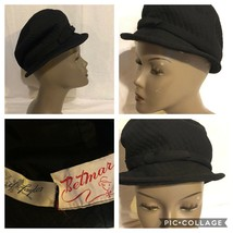 VINTAGE WOMEN'S BLACK QUILTED HAT-BETMAR for LORD & TAYLOR Size 6 1/2-7 - $25.25
