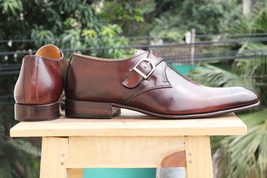 Handmade Men's Brown Monk Strap Dress/Formal Leather Shoes image 1