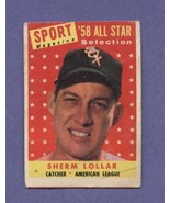 1958 All Star Selection Sherman Lollar Topps #491 Baseball Card - $2.99