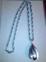 Silver tone heavy chain trifari necklace - $14.95