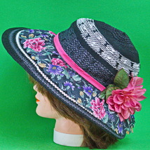 Beautiful New Hand Decorated Women's Sun Hat, Black &, White Material - $6.95