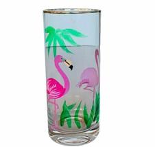 Pink Flamingo figurine Drinking Glass Cup Mug cocktail decor gift vtg 19... - $28.98